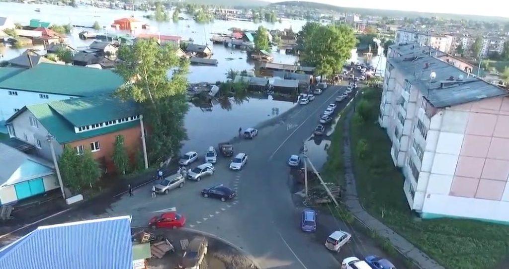 Ситуация с наводнением в Тулуне 30 июня (съемка с квадрокоптера)