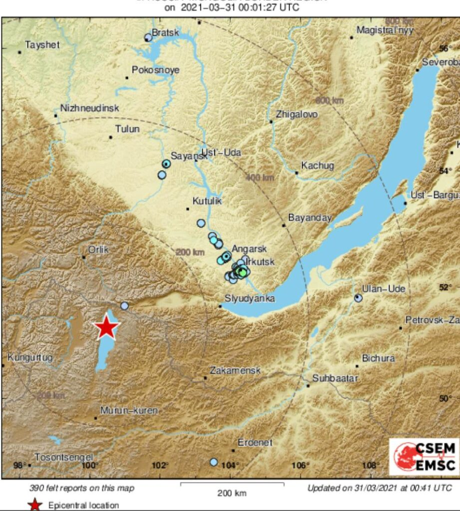 Землетрясение силой 3-4 балла почувствовали жители Иркутска